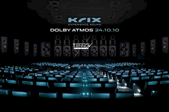 Krix partners with Trinnov for a 24.10.10 Dolby Atmos world premiere logo